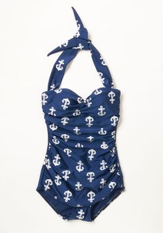 Bathing Beauty One-Piece Swimsuit in Anchors. It's ModCloth's ultimate swimsuit - now in a nautical anchor pattern