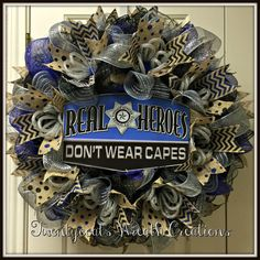Law Enforcement/Police Deco Mesh Wreath by Twentycoatswreath