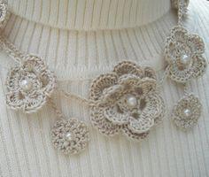 Flower Necklace Creamy Linen Crochet Lariat by MarKateLiz on Etsy, $22.00