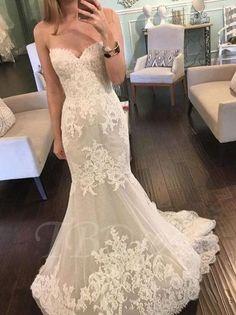 Tbdress.com offers high quality Fashionable Sweetheart Lace Mermaid/Trumpet Wedding Dress Latest Wedding Dresses unit price of $ 168.14.