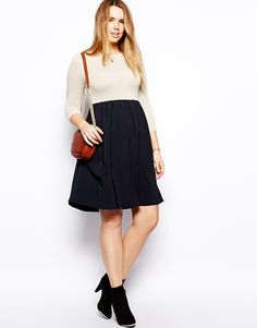 ASOS CURVE - Knitted Dress With Woven Skirt