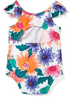 Floral Flutter-Sleeve Swimsuit for Baby