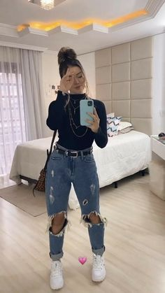 Trendy Fall Outfits, Cute Comfy Outfits, Winter Fashion Outfits, Retro Outfits, Look Fashion, Stylish Outfits, Edgy School Outfits, Winter Swag Outfits, Winter Night Outfit