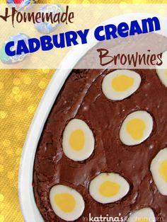 Homemade Cadbury Cream Egg Brownies #recipe | www.inkatrinaskitchen.com