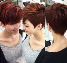 Caramel colored pixie with long side bangs