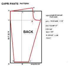 Step by Step instruction to draft a pattern to make Capri pants with sewing tutorial Dress Sewing Patterns, Doll Clothes Patterns, Clothing Patterns, Pattern Sewing, Shirt Patterns, Pattern Cutting, Diy Clothing, Pajama Pattern, Pants Pattern
