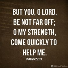 """""""But you, O LORD, be not far off; O my Strength, come quickly to help me."""" Psalm 22:19"""