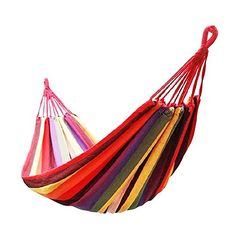 Bluesky Outdoor Colorful Stripes Leisure Entertainment Single Canvas Hammocks 150KG  330Ib Ultralight Camping Travel Hammock with Storage Bag Oversize Single Canvas Hammock * Check out the image by visiting the link.