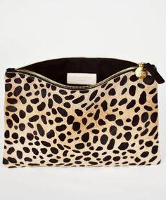 Leopard Flat Clutch by Clare Vivier