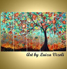 SALE Original Large Whimsical OLIVE Tree Painting Huge Boho