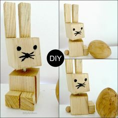 Hase aus Holzresten / Rabbit made from leftover wood / Easter bunny / Upcycling Diy Gifts For Kids, Diy For Kids, Crafts For Kids, Diy And Crafts, Animal Cutouts, Rock And Pebbles, Woodworking Projects For Kids, Spring Projects, Wooden Crafts