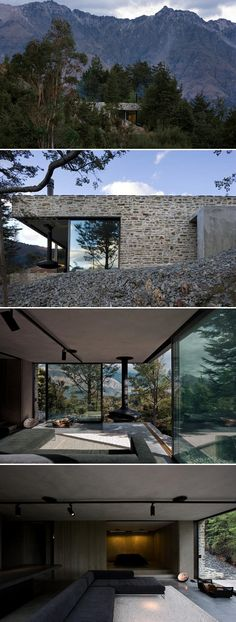 """""""Mountain Retreat"""": Clad in stone to compliment the gravel trails and rocky alpine setting, this beautiful 1000 sq meter retreat in Central Otago, New Zealand, is an exercise in restraint: minimal interior furnishings in natural tones allow the spectacular views to remain front and center.   Fearon Hay Architects (2008) Photo: Patrick Reynolds"""