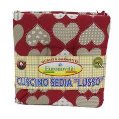 Set 4 cuscini Rossi con cuori,trapuntati al centro 40x40 spessore 5 cm, copri sedia cucina, Euronovità