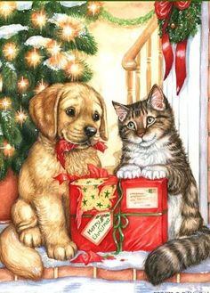 it's not Christmas without the fur kids