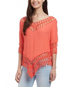 Love this Coral Crochet Fringe Hi-Low Top on #zulily! #zulilyfinds