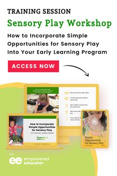 Learn how to incorporate sensory play into your early childhood centre learning program - This on-demand workshop will equip early childhood educators, leaders, and coordinators with ideas and opportunities to use sensory play activities for all children in their program. Head over to the workshop page to learn more! | The Empowered Educator Centre Learning, Play Based Learning, Early Learning, Sensory Activities, Sensory Play, Activities For Kids, Early Childhood Centre, Early Childhood Education, Early Years Teacher