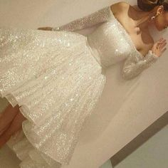 White Sequined Prom Homecoming Dress - Off Shoulder Long Sleeves Hi-Low with Sash