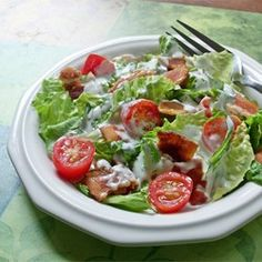 "BLT Salad | ""This recipe is reminiscent of the classic BLT or bacon, lettuce, and tomato sandwich. It's a great summertime salad!"""