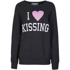 Delicious London I Love Kissing Sweater ($30) ❤ liked on Polyvore featuring tops, sweaters, shirts/tops, sweatshirts, black, i heart shirts, slogan shirts, marled sweater, shirt top and shirt sweater