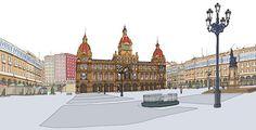Ayuntamiento de La Coruña.  Disponible en chiriwappa.com a partir de 89E más gastos de envío. Louvre, Building, Travel, Budget, Illustrations, Art, Viajes, Buildings, Destinations