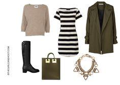 Get The Look - Rainy Days  Acnewool jumper /Storm  MarieStriped Dress /Viktoria and WoodsCalypso coat /SensoMatilda Boots /Sophie HulmeKhaki tote (similarhere) /MoxhamKruger necklace.