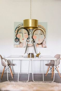 Beautiful focal point wall painting in the dining room.