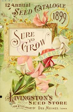Front cover of Annual Seed Catalogue' 'Sure to grow seeds for farm, garden & field.' Livingston's Seed Store. Department of Agriculture,. Vintage Diy, Images Vintage, Vintage Labels, Vintage Ephemera, Vintage Pictures, Vintage Cards, Vintage Postcards, Vintage Style, Vintage Prints
