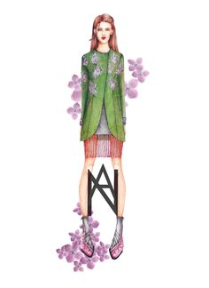 AU ROOM Studio  That is where I post my drawings and some other work.  Author: Aurelija Norkunaite 2016 Spring  A sketch of my designs. The coat that was later produced as a present to my best friend Iza.  Inspiration: Lillac Blossoms in Pisa town.