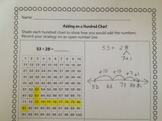 Math Coach's Corner: Recording Addition on a Hundred Chart. Here's a little freebie for showing addition on a hundred chart.  There is one sheet with numbers included and another with spaces so you can add your own numbers.  Then I created two more versions with space for kiddos to show their work on on open number line, like I've shown in the photograph below.  Keep in mind that there is not a right way to show the work.