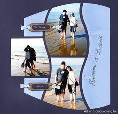 I like the shape idea. Beach Scrapbook Layouts, School Scrapbook, Scrapbook Sketches, Scrapbooking Layouts, Scrapbook Cards, Bahamas Beach, Beach Trip, Wedding Scrapbook, Travel Scrapbook