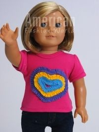 Trendy Dolls - Pink Colorful Heart Shirt for 18 inch Dolls. Fits American Girl Dolls, $5.75 (http://www.mytrendydoll.com/doll-separates/pink-colorful-heart-shirt-for-18-inch-dolls-fits-american-girl-dolls/)