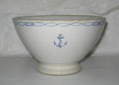 Ancien bol de la Marine Nationale décor ancre et câble bleu - Cliquer pour agrandir