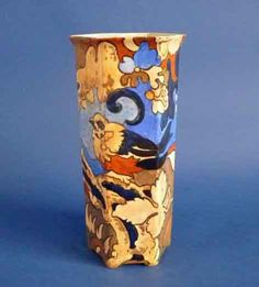 A superb Bursley Ware Amstel hexagonal vase designed by Frederick Rhead for Wood and Sons Hand painted in rich tones of tan olive and blue with a Art Nouveau, Art Deco, Pottery Art, Hand Painted, Vase, Ceramics, Bird, Prints, Design