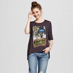 Women's Star Wars Empire Strikes Back Drapey 3/4 Sleeve Vintage Black L (Juniors') : Target
