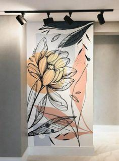 Creative Wall Painting, Wall Painting Decor, Art Painting Gallery, Mural Wall Art, Creative Art, Wall Murials, Wall Drawing, Green Art, Inspiration Wall