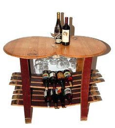 Wine Rack Barrel Table