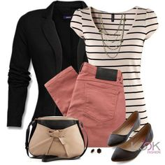 I like the rose jeans paired with the black blazer. A pretty scarf would look nice with this outfit. Womens Fashion For Work, Women's Summer Fashion, Work Fashion, Fall Fashion, Curvy Fashion, Style Fashion, College Fashion, Petite Fashion, 50 Fashion