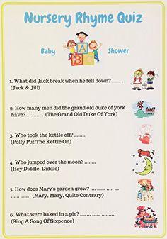 Baby Shower Games Nursery Rhyme Quiz. Unisex, Pack Of 10 Cards. U2013  BABIES2CUTE
