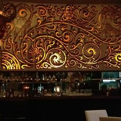 The well-decorated bar at Chandi, a well-reviewed, fusion-Indonesian restaurant in Seminyak, Bali.