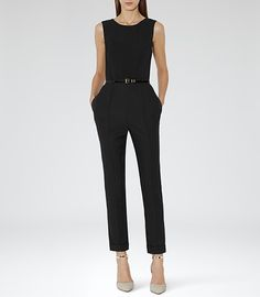 Iver Black Seam Detail Jumpsuit - REISS...Staple Item for every woman's wardrobe.