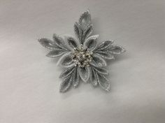 Silver Snowflake Pin/Brooch, Japanese Kanzashi Snowflake pin, Winter Wedding Brooch, Festive Winter pin by FancifulFrillies on Etsy