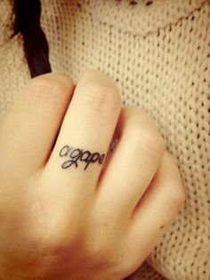 finger tattoo :) easily hidden with a ring i wear every day. shhhh.