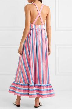 STAUD | Eunice striped stretch-cotton poplin maxi dress | NET-A-PORTER.COM