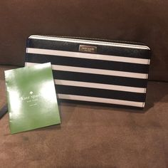 New Kate Spade Striped Wallet New with tags 100% authentic Kate spade bright water drive striped wallet kate spade Bags Wallets