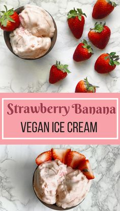 Easy to make strawberry banana vegan ice cream! Simple to make, perfectly sweetened, with all delicious and healthy ingredients! Vegan Recipes Easy Healthy, Best Vegan Desserts, Vegan Dessert Recipes, Healthy Life, Vegetarian Recipes, Healthy Living, Vegan Sweets, Cookbook Recipes, Vegan Life