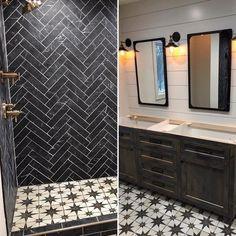 Shower Floor Tile, Bathroom Floor Tiles, Wall And Floor Tiles, Downstairs Bathroom, Shower Walls, Chevron Tile, Black Chevron, Rustic Shower, The Tile Shop