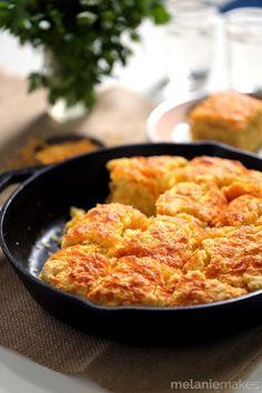 Cheddar and Cream Cheese Skillet Cornbread | Melanie Makes