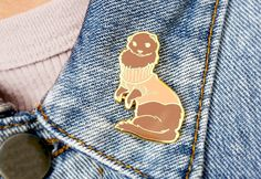 Ferret in Turtleneck Sweater Hard Enamel Pin - Brown, Apricot, and Gold - Lapel Pin by Ohjessicajessica on Etsy https://www.etsy.com/ca/listing/499233981/ferret-in-turtleneck-sweater-hard-enamel