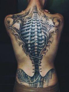 nice Tattoo 3D for the Modern Age- Beautiful corset/biomechanical back tattoo - This kick ass tattoo looks great on...