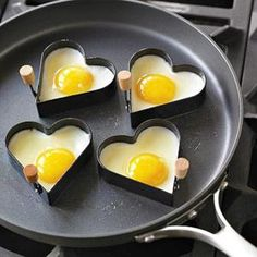 Heart shaped over medium eggs. One year I got up and made everyone heart shaped sausages, eggs, pancakes and even made little muffins in these! Everyone in the house loved their breakfast.